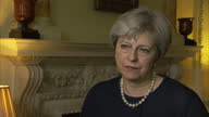 Shows interior shots interview soundbite with UK Prime Miinister Theresa May speaking on Donald Trump's response to Parsons Green Terror Attack An...