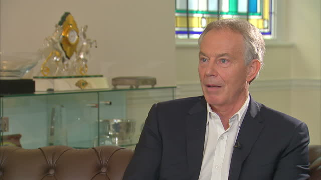 Shows interior shots interview soundbites with former UK Prime Minister Tony Blair speaking on views on BREXIT and Labour Party QUOTE 'Well I think...