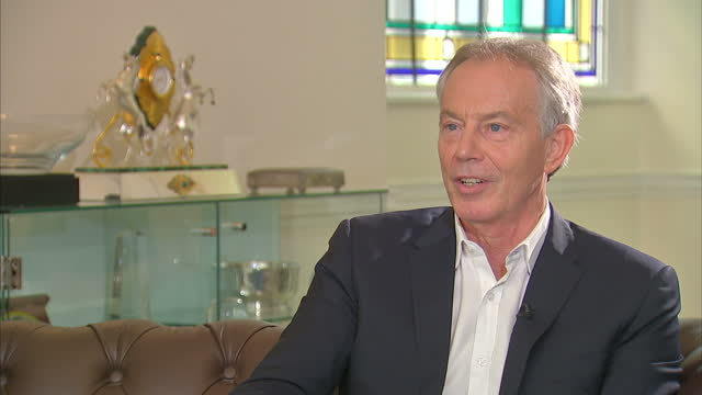 Shows interior shots interview soundbites with former UK Prime Minister Tony Blair speaking on views on BREXIT QUOTE 'If you say you want a jobs...