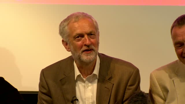 Shows interior shots Leader of UK Labour Party Jeremy Corbyn and members of UB40 answering question what can politicians learn from musicians and...