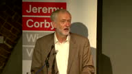 Shows interior shots Leader of UK Labour Party Jeremy Corbyn standing on stage giving speech on Leadership campaign aims justice in society and...