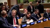 Shows interior shots officals and delegates chatting before meeting at UN General Assembly on 19th September 2017 in New York USA