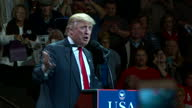 Shows interior shots President Elect Donald Trump speaking on stage at rally Presidentelect Donald Trump held a raucous rally in Ohio on Thursday...