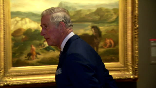 Shows Interior shots Prince Charles being shown round the Delacroix exhibition by Gallery officials The Prince of Wales will visit the National...