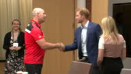 Shows interior shots Prince Harry meeting a competitor True Patriot Love Symposium at Scotia Plaza on day 1 of the Invictus Games Toronto 2017 Prince...