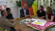 Shows interior shots Prince William Duke of Cambridge talking to art therapists at Spitalfields Crypt Trust drop in centre on 19th September 2017 in...
