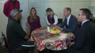 Shows interior shots Prince William Duke of Cambridge talking to service users and volunteers at Spitalfields Crypt Trust drop in centre on 19th...