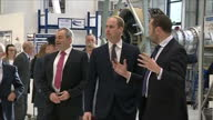 Shows interior shots Prince William Duke of Cambridge touring Rolls Royce XWB engine assembly line with Director of Assembly and Aerospace Testing...