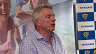 Shows interior shots Ryanair CEO Michael O'Leary soundbites at press conference speaking on airline's plans to cancel 50 flights a day due to pilot...