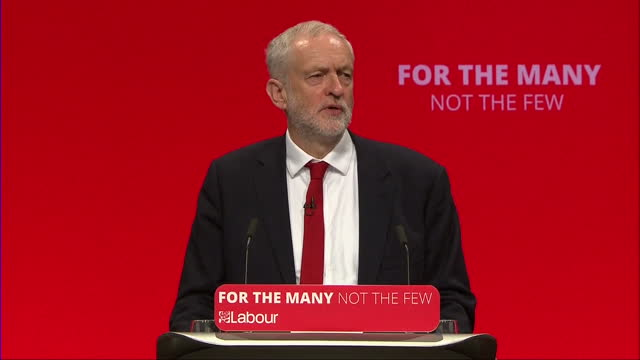 Shows interior shots speech soundbites from UK Labour Party Leader Jeremy Corbyn speaking on criticism of Donald Trump's threats of war against North...