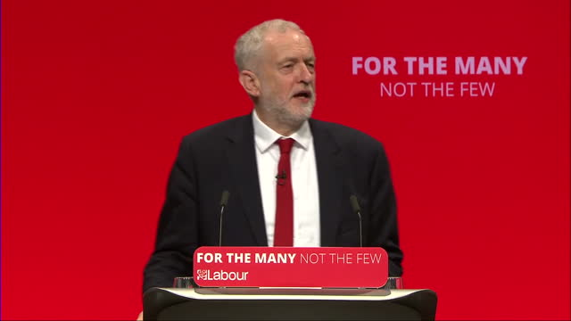 Shows interior shots speech soundbites from UK Labour Party Leader Jeremy Corbyn speaking on Tory Goverenment Chaos and Brexit bungling at Labour...