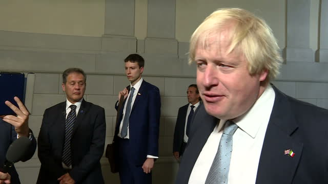 Shows interior shots UK Foreign Secretary Boris Johnson speaking on reaction to Theresa May's Brexit speech QUOTE 'As the Prime Minister rightly said...