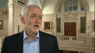 Shows interior shots UK Labour Party Leader Jeremy Corbyn speaking on Tony Blair's comments RE BREXIT QUOTE 'Anyone is entitled to give their views I...