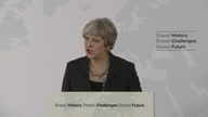 Shows interior shots UK Prime Minister Theresa May giving speech on Brexit QUOTE 'We share the same set of fundamental beliefs a belief in free trade...