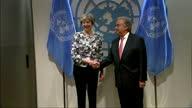 Shows interior shots UK Prime Minister Theresa May meeting UN Secretary General Antonio Guterres and posing for handshake photo op Interior shots...