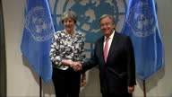 Shows interior shots UK Prime Minister Theresa May shaking hands with UN General Secretary Antonio Guterres and meeting with various officials for...