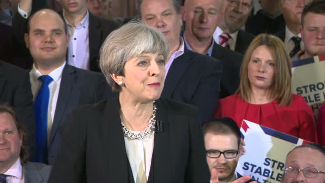 CLEAN Shows interior shots UK Prime Minister Theresa May soundbite on choice of leadership in the forthcoming General election the Conservatives...