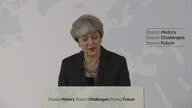 Shows interior shots UK Prime Minsiter Theresa May giving speech on Brexit QUOTE 'It's also the case that people and businsses both in the UK and the...
