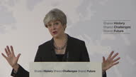 Shows interior shots UK Prime Minsiter Theresa May giving speech answering question on future relationship between UK and EU QUOTE 'This is one of...