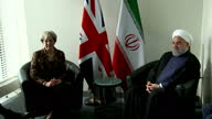 Shows interior shots UK Prime Minsiter Theresa May in bilateral meeting with Iranian President Hassan Rouhani at UN General Assembly The UK Prime...