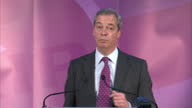 Shows interior shots UKIP Interim Leader Nigel Farage giving speech from stage speaking on his correct predictions QUOTE 'I could be wrong I could be...