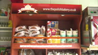 Shows interior shots various products on shelves for sale in Polish shop in Harlow Essex on August 31 2016 in Harlow England