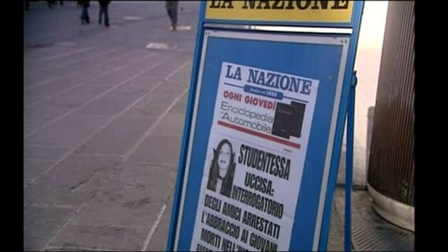 Shows Italian newspaper headlines featuring murdered British student Meredith Kercher in Perugia on 8th November 2007