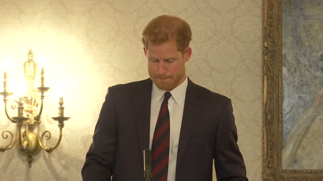 Shows Prince Harry speaking about mental health awareness for the armed forces at the Ministry of Defence in London on October 9th 2017 Prince Harry...