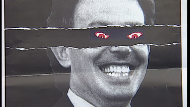Shows shots of the 'New Labour New Danger' advertising campaign poster ran by the Conservative Party during the run up to the 1997 UK general election