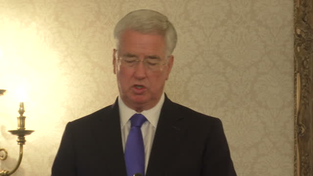 Shows Sir Michael Fallon Secretary of State for Defence speaking about mental health awareness for the armed forces at the Ministry of Defence in...