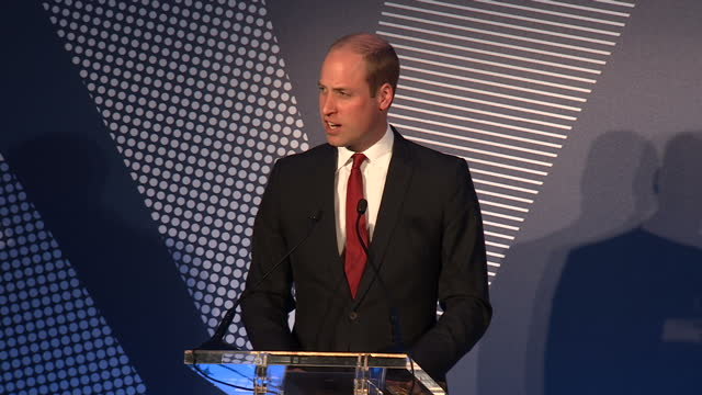 Shows the Duke of Cambridge making short speech during The Diana Award 2017 ceremony Prince William and Prince Harry attended an award ceremony...