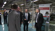 ShowsPhilip Hammond Defence MP visiting and Thales factory and meeting with officials on April 15 2014 in London England