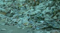Shredded paper car parts containers cars paper at Port of Long Beach