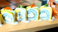 Shrimp or prawn sushi