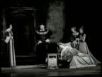Shubert Theatre stage w/ Rex Harrison as King Henry VIII kneeling at child's crib Joyce Redman as Anne Boleyn Rex Harrison leaving stage Play by...
