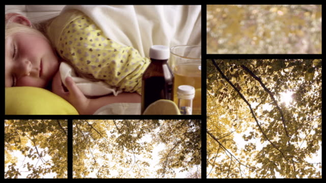 Sick little girl. Autumn split screen
