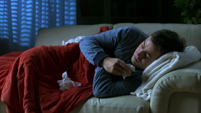 HD: Sick Man Coughing At Night