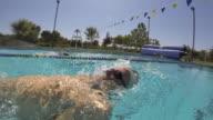 CU Side POV SLO MO Shot of male, baby boomer, swimming backstroke / Davis, California, United States