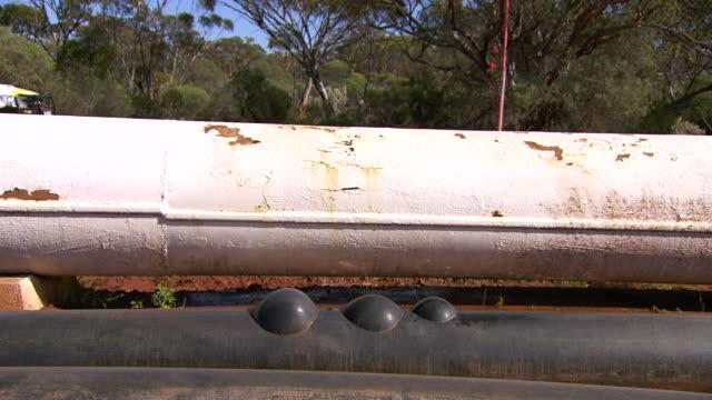MS Side POV Shot of Pipe / Coolgardie and Kalgoorlie, Western Australia, Australia