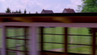 Side train point of view through countryside with houses / Germany