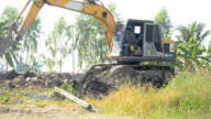 side view : Bulldozer is working