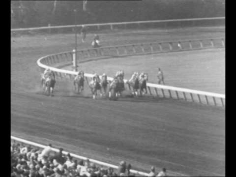 Side view crowd in stands at Hollywood Gold Cup horse race at Hollywood Park / horses burst out of starting gate approach as they race rear shot...