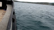 side view from a boat in the sea