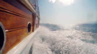 Side view from a yacht cruising mediterranean costs