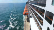 MS Side POV View of Cruise ship Queen Mary 2 of Cunard Line with small boat / North Sea, Jutland, Denmark