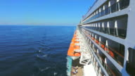 WS Side POV View of Cruise ship Queen Mary 2 of Cunard Line with small boat / North Sea, Jutland, Denmark