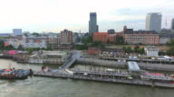 WS Side POV View of Elbe river to Landungsbrucken / Hamburg, Germany