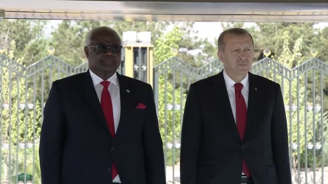 Sierra Leone's President Ernest Bai Koroma is welcomed by Turkish President Recep Tayyip Erdogan with an official welcoming ceremony prior to their...