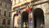 SighisoaraGovernment Building Romania Flag flapping Sighisoara Transylvania Romania