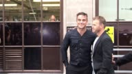 Robbie Williams and Gary Barlow at BBC radio one London at the Celebrity Sightings in London at London England